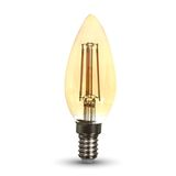 LED Filament E14 Kerze 4W 320Lm extra-warmweiss amber gold